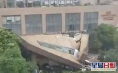 暴雨襲廣東 酒店走廊天花45度塌下幸無人傷