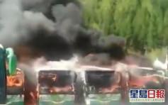 山西男随手掉烟头 连环烧了6辆巴士