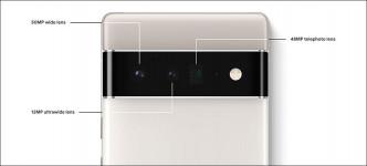 ●Pixel 6 Pro裝有50MP廣角主鏡、12MP超廣角及48MP遠攝。