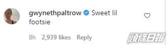 飾演「Iron Man」女友Papper的Gwyneth Paltrow讚羅拔唐尼腳板可愛。